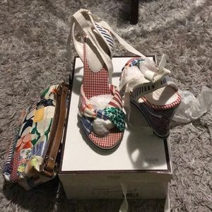 Coach strap up sandal with coach small handbag